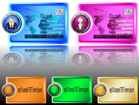 Identification card Header or Banner Design colorful Button Shield sticker vector illustration Stock Vector - 16958125