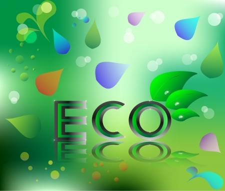 logo ecology: eco ecology logo green leaf vector illustration on green floral background