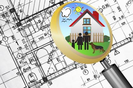 유리 렌즈 행복 가족과 꿈의 집, 확대되는 건축 계획 청사진 부동산 사업 개념