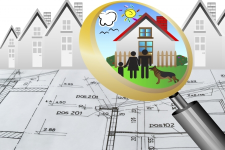 architectural plan blueprint real estate business concept with magnifying glass lens happy family and dream house photo