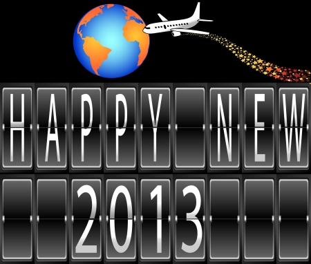 happy New Year 2013 mechanical timetable terminal airplane circling the globe Vector