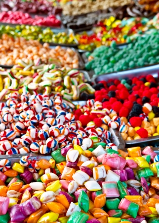 Assorted candy and Mixed colorful Bonbon in a Christmas market photo
