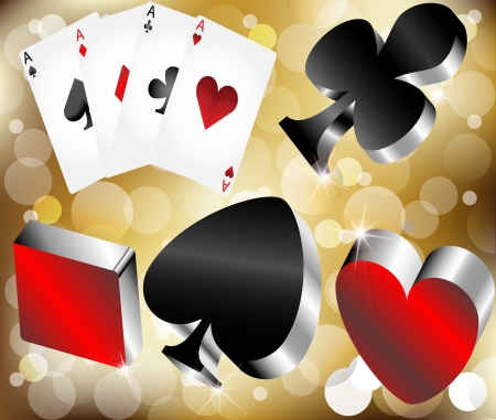 shiny metallic glossy symbols of playing cards on gold abstract background Vector