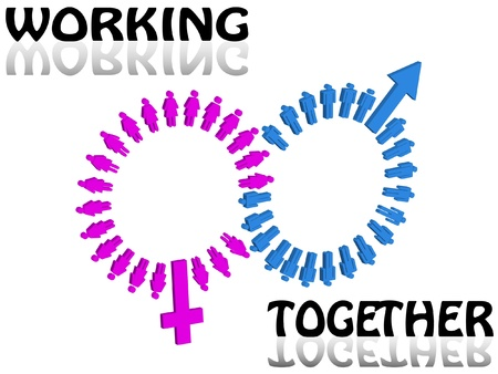 Working together team concept Men and Women icon  Illustration Vector