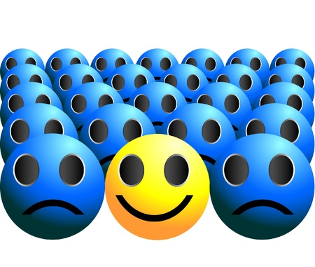 pessimist: smiley ball stands out in a crowd single smile in a crowd Illustration