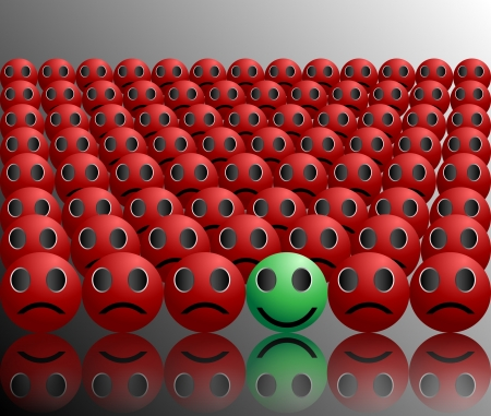 unitary: smiley ball stands out in a crowd single smile in a crowd Illustration