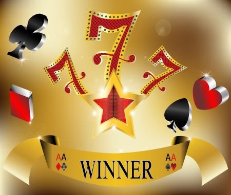 lasvegas: gambling winner lucky seven 777 banner gold illustration Illustration