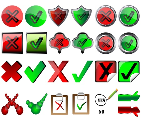 tick and cross signs right and wrong button signs pencil choosing yes vector illustration Stock Vector - 17708495