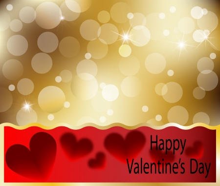 Happy Valentines Day heart card with heart abstract gold Vector illustration Stock Vector - 17818629