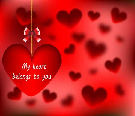 Happy Valentines Day my heart belongs to you card with heart abstract Vector illustration