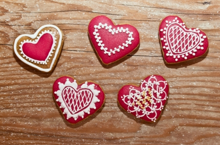 valentines day heart home made gingerbread cookies christmas isolated white photo