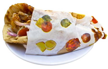 Giros pita kebab gyro isolated Greek specialty with roasted meats Stock Photo - 17818619