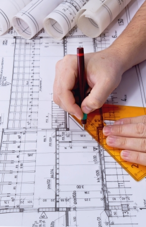 architect tools: Architect drawing rolls and plans blueprints project