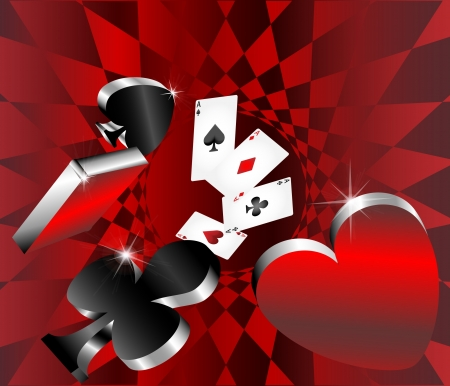gambling icons cards shiny metallic glossy symbols of playing cards abstract background vector illustration Vector