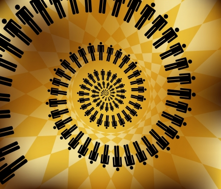 business work team concept spiral nautilus  illustration on abstract background Vector