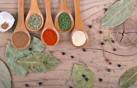 Spices on Wood table food preparation Food ingredients photo