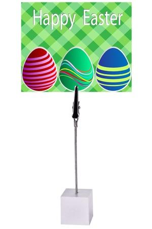 holder: easter egg on green Paper card Memo Holder Stock Photo