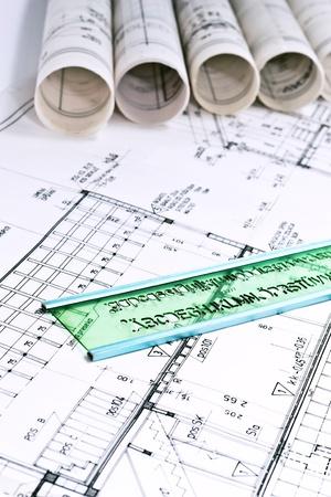 不動産の概念を図面建築技術プロジェクト 写真素材