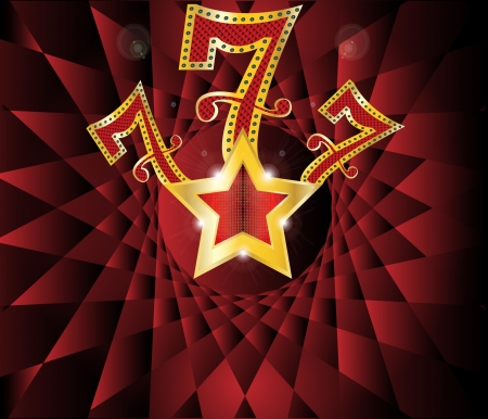 lucky seven  with gold star and reflection on black background  illustration
