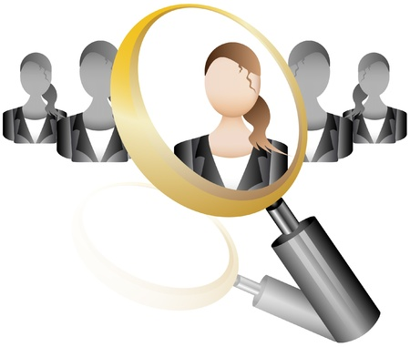 executive search: search Employee Icon for Recruitment Agency Magnifier with Business