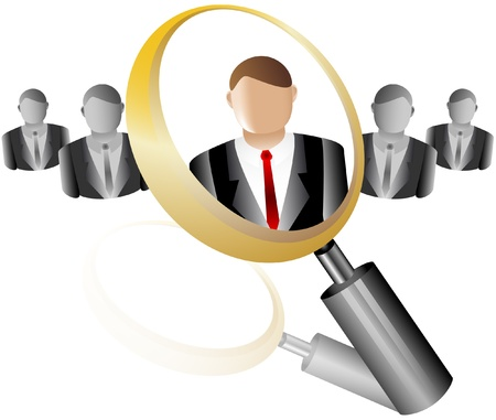 search Employee Icon for Recruitment Agency Magnifier with Business Stock Vector - 18583034