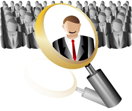 search Employee Icon for Recruitment Agency Magnifier with Business Vector