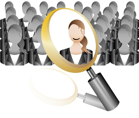 hire: search Employee Icon for Recruitment Agency Magnifier with Business