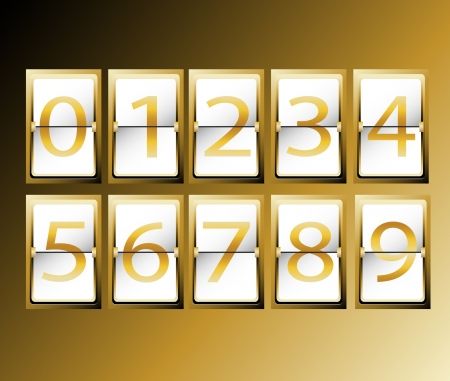 numbers on Airport Terminal timetable Display Font Set gold vector illustration Vector