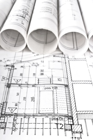 Architectural blueprint technical project drawings Stock Photo