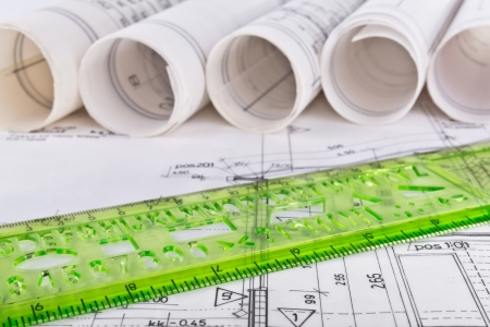 Architectural blueprint technical project drawings photo