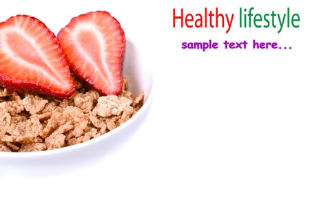 biologically: Muesli with fresh Strawberry healthy breakfast Stock Photo