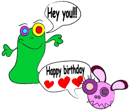 cute happy birthday card with funny alien monster illustration Vector