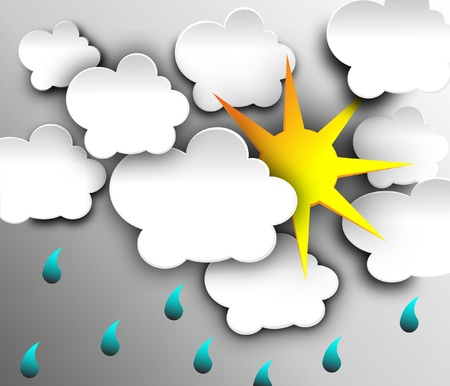 slush: illustration of cool single weather icon sun with cloud floats in the rain drop sky Illustration