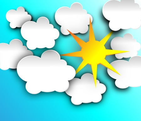 illustration of cool single weather icon sun with cloud floats in the sky
