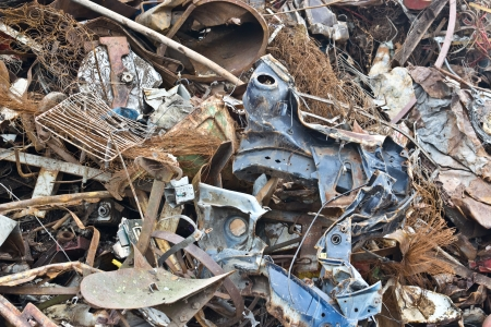 metal recycling: waste iron metal rusted