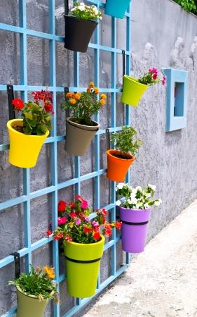 植木鉢を吊り