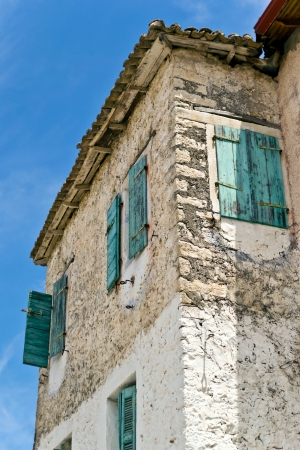 corfu: Old Stone Building Greece Stock Photo