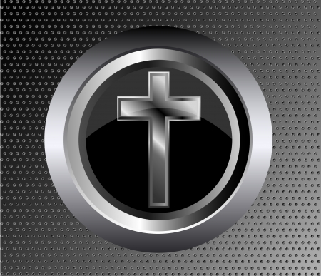 silver cross: holy cross symbol of the Christian faith on a black metal button black metal background vector illustration
