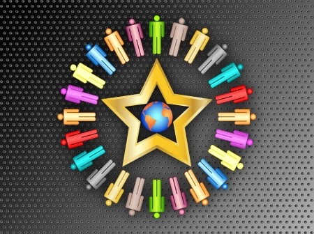 work worker workforce world: colorful planet business people connection with gold star team work on black metal background vector illustration