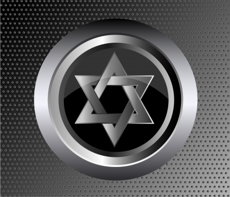 magen david: hebrew Jewish Star of magen david in black metal button on black metal background vector illustration