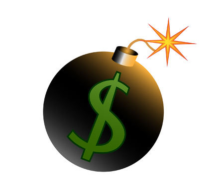 ignited: dollar crisis Ignited bomb with dollar-symbol vector illustration