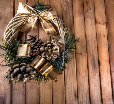 Christmas wreath on the wood photo