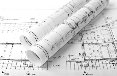 Architect rolls and plans photo