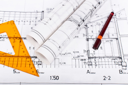 Architect rolls and plans Stock Photo - 22968530
