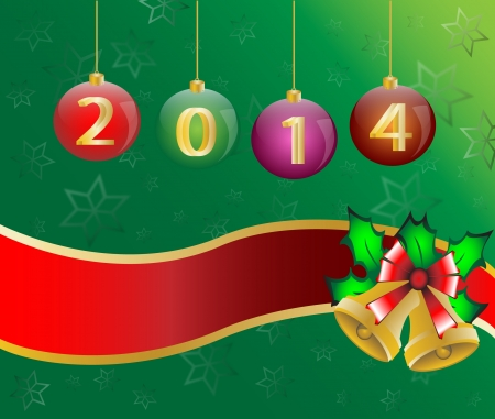 happy new year 2014 Christmas Card Background Illustration vector Stock Vector - 23298485