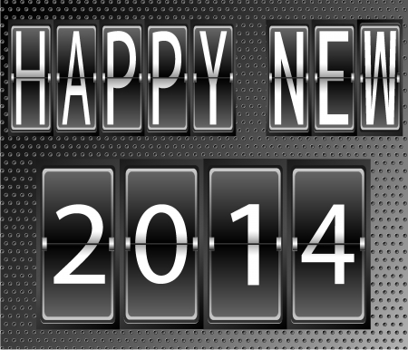 happy New Year 2014 Set of letters and numbers on a mechanical timetable terminal Vector