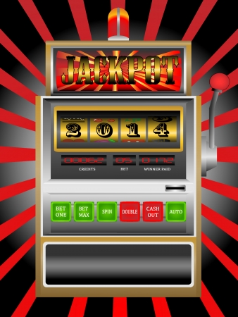 slot in: new year 2014 in slot machine vector illustration