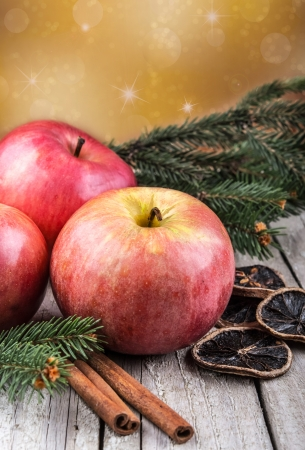 Red winter apples with cinnamon sticks photo