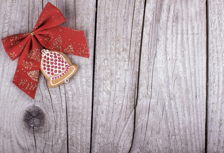 ginger bread on wood christmas holiday background photo