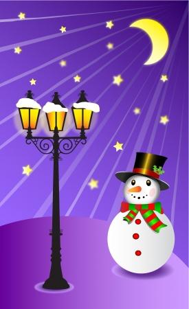 уличный фонарь: Снеговик стоит под уличным фонарем на Рождество векторные иллюстрации вечерней